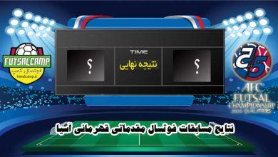 نتایج مسابقات فوتسال مقدماتی قهرمانی آسیا در ارومیه