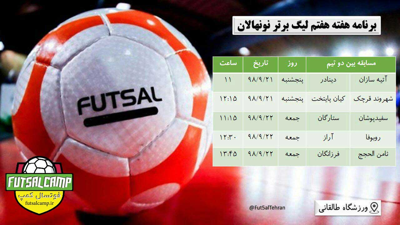 برنامه هفته هفتم لیگ فوتسال نونهالان تهران