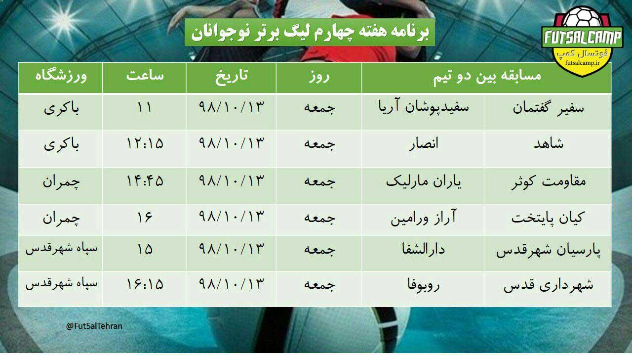 برنامه بازی ها هفته چهارم لیگ فوتسال نوجوانان تهران