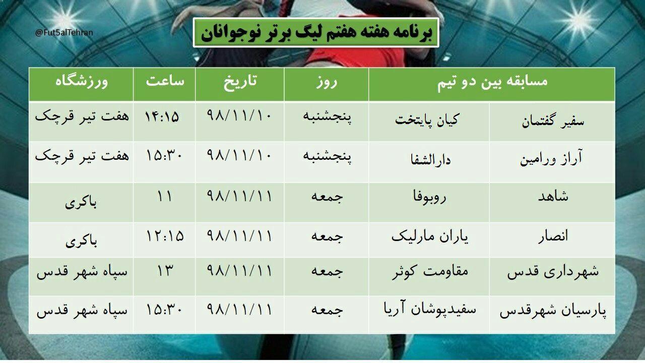 هفته هفته لیگ فوتسال نوجوانان تهران
