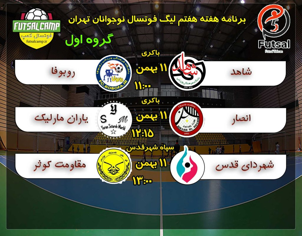 برنامه بازی هفته هفته گروه اول لیگ فوتسال نوجوانان تهران