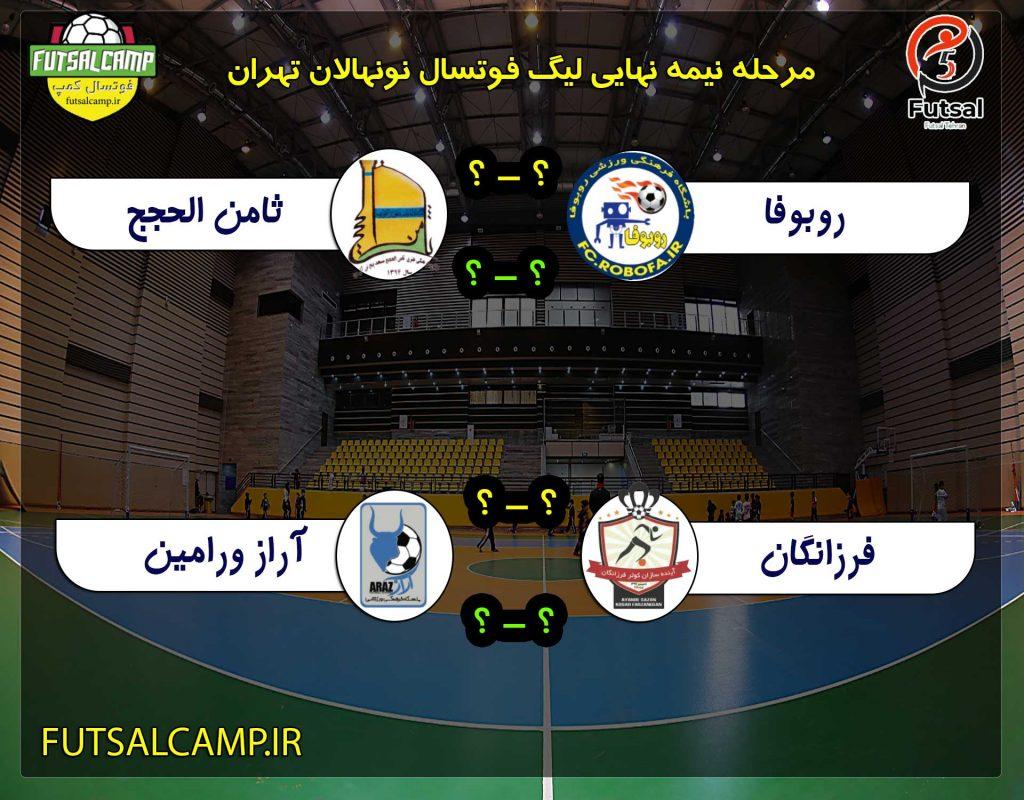 برنامه مسابقات نیمه نهایی لیگ فوتسال نونهالان تهران