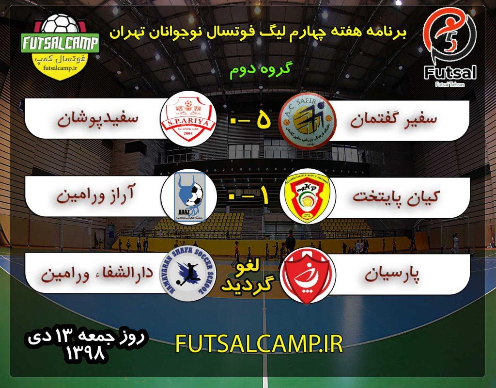 نتایج بازی ها هفته چهارم گروه اول لیگ فوتسال نوجوانان تهران