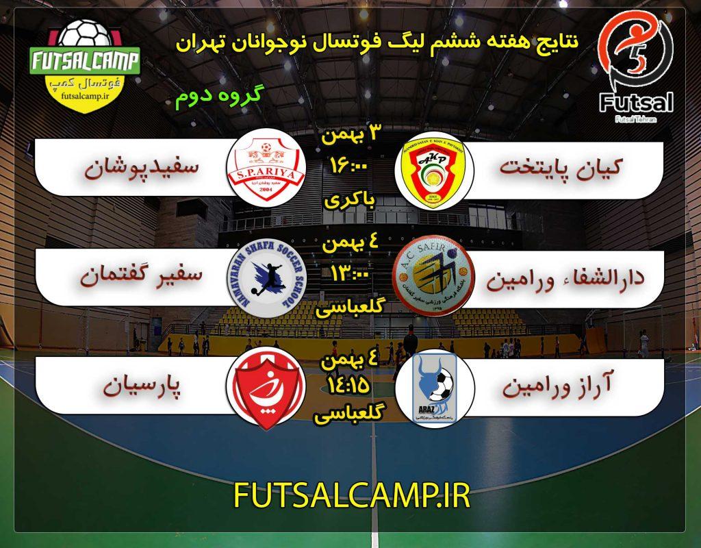 برنامه بازی های گروه دوم در هفته ششم لیگ فوتسال نوجوانان تهران