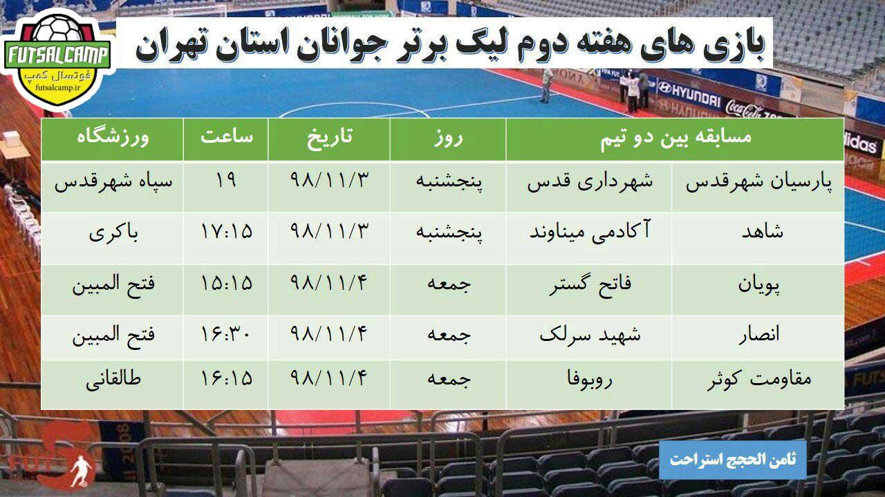 برنامه هفته دوم لیگ فوتسال جوانان تهران