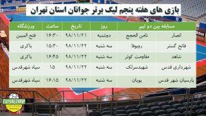 برنامه هفته پنجم لیگ فوتسال جوانان تهران